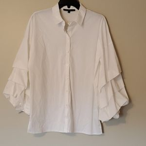 NWT Antonio Melani Button down Ruffle slv Blouse